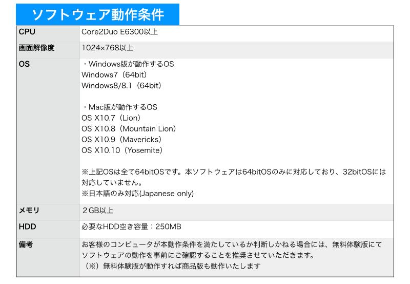 ソフトウェア動作条件。CPU Core2Duo E6300以上。画面解像度 1024×768以上。OS ・Windows版が動作するOS Windows7(64bit) Windows8/8.1(64bit) ・Mac版が動作するOS OS X10.7(Lion) OS X10.8(Mountain Lion) OS X10.9(Mavericks) OS X10.10(Yosemite)  ※上記OSは全て64bitOSです。本ソフトウェアは64bitOSのみに対応しており、32bitOSには対応していません。※日本語のみ対応(Japanese only)。メモリ 2GB以上。HDD 必要なHDD空き容量:250MB。備考 お客様のコンピュータが本動作条件を満たしているか判断しかねる場合には、無料体験版にて ソフトウェアの動作を事前にご確認することを推奨させていただきます。(※)無料体験版が動作すれば商品版も動作いたします。